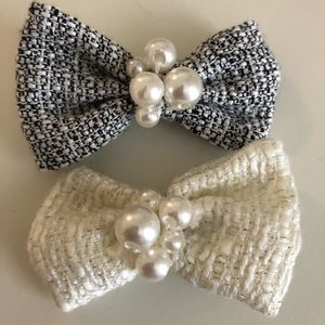 Tweed and Pearl Hair Clips